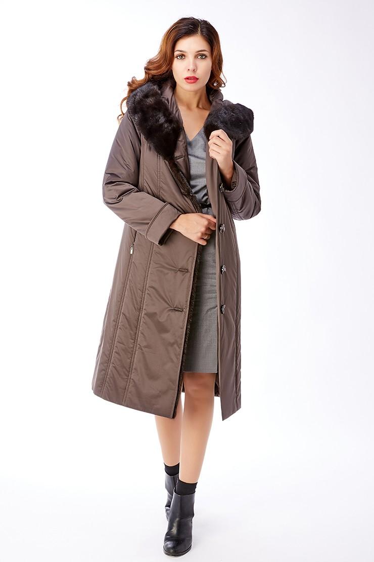 коричневое пальто на синтепоне до колена