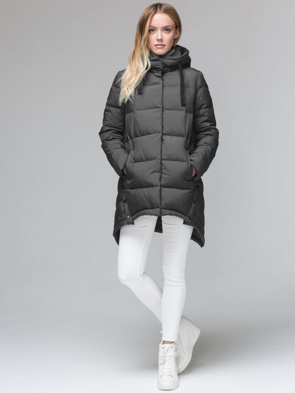 серая куртка пальто а асимметричным подолом