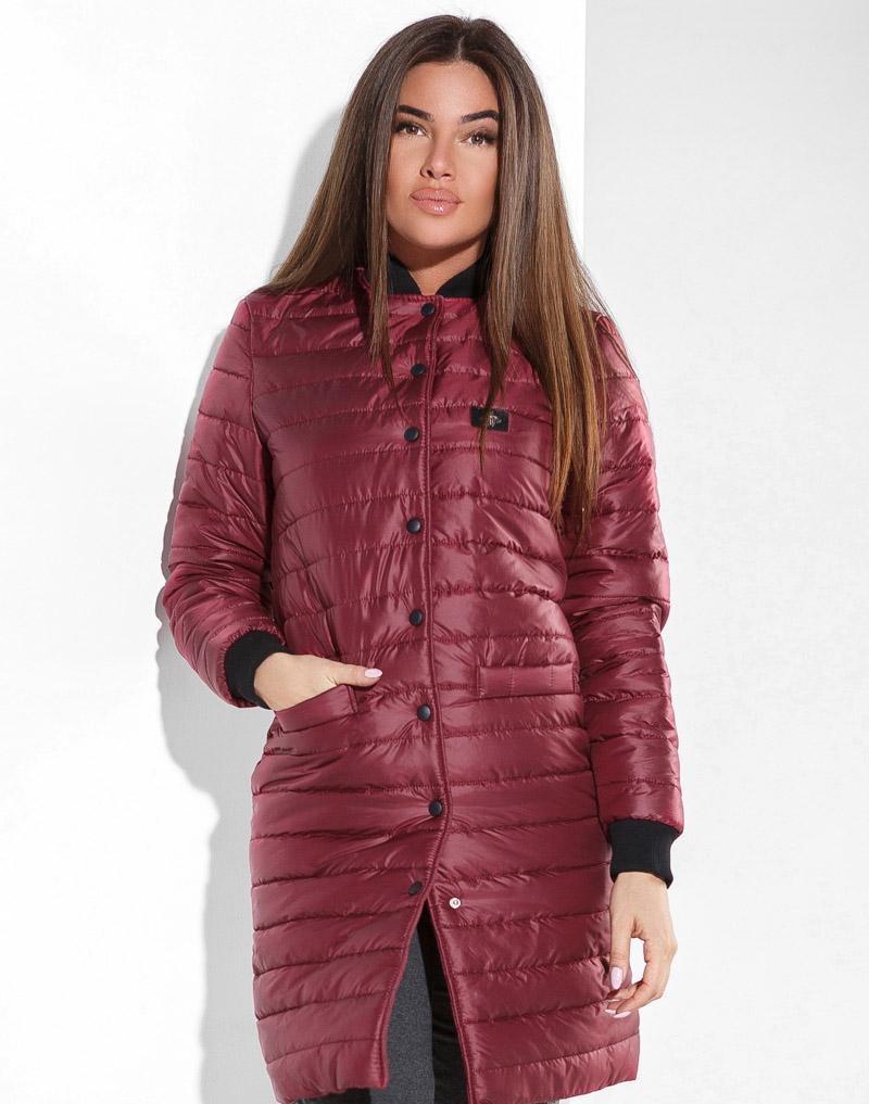 стеганное пальто цвета марсала