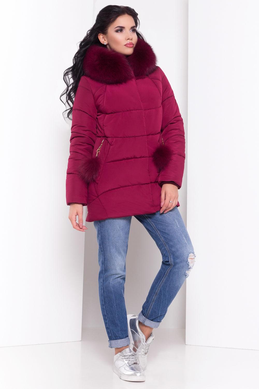 короткое пальто на синтепоне бордового цвета
