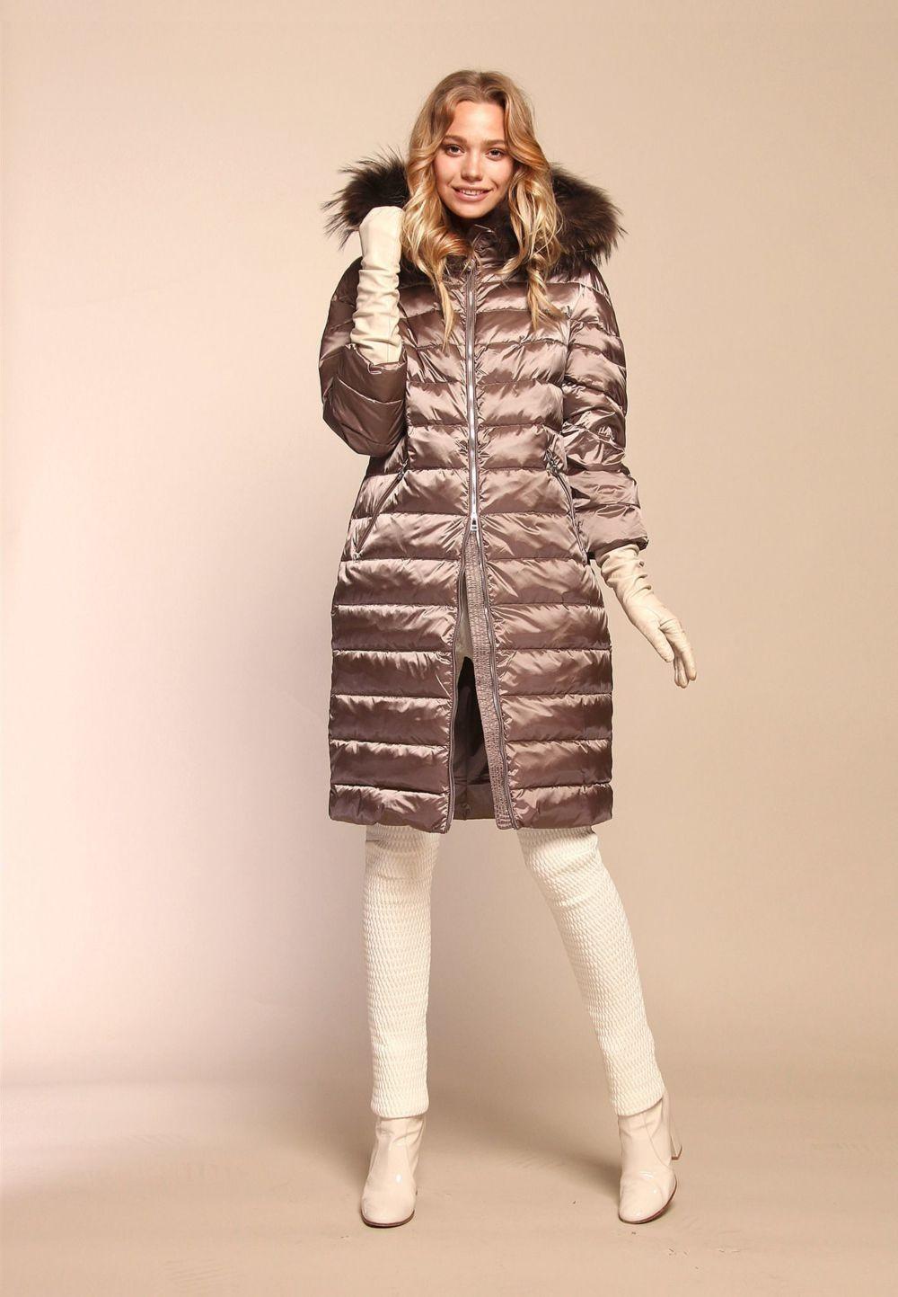 стеганное пальто металлического оттенка
