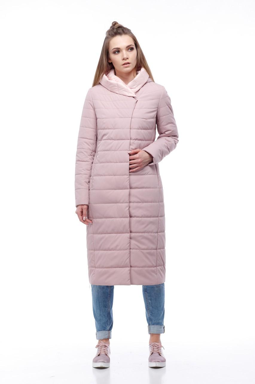 пальто на синтепоне пастельного оттенка до колена