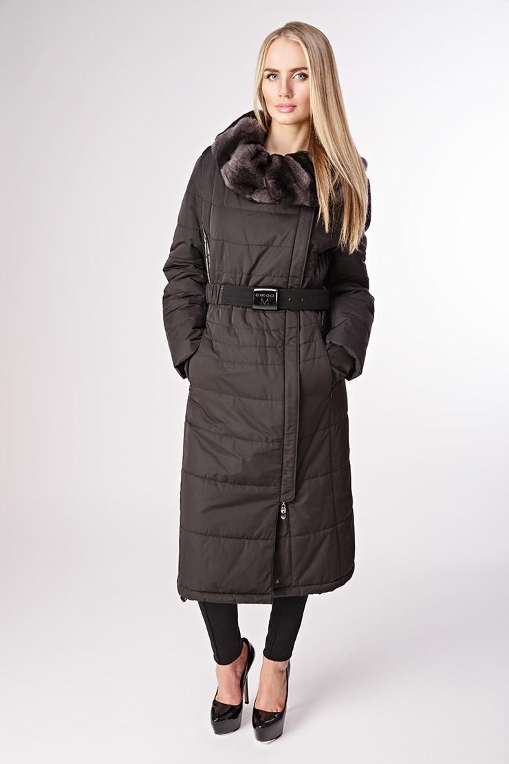длинное коричневое пальто на синтепоне с поясом