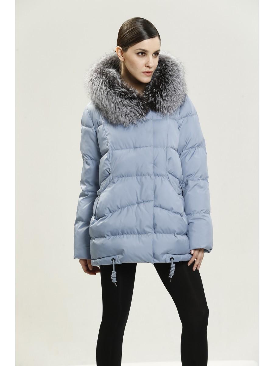 голубая куртка пальто с меховым воротником
