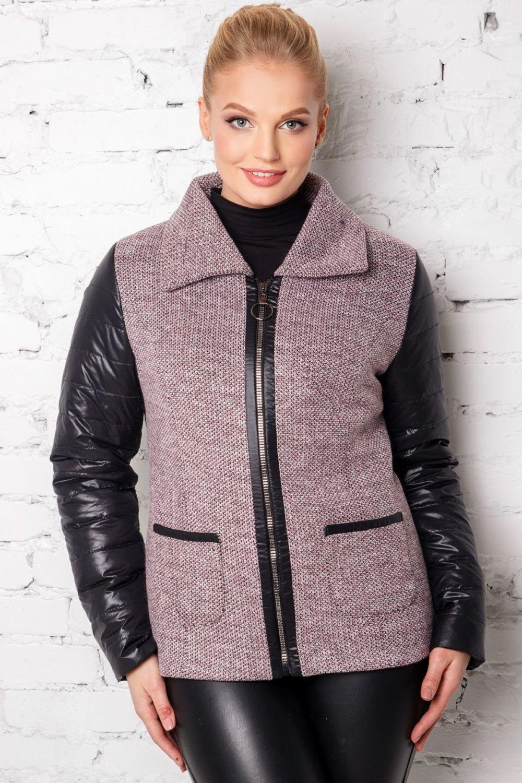 куртка пальто на замке с кожаными рукавами