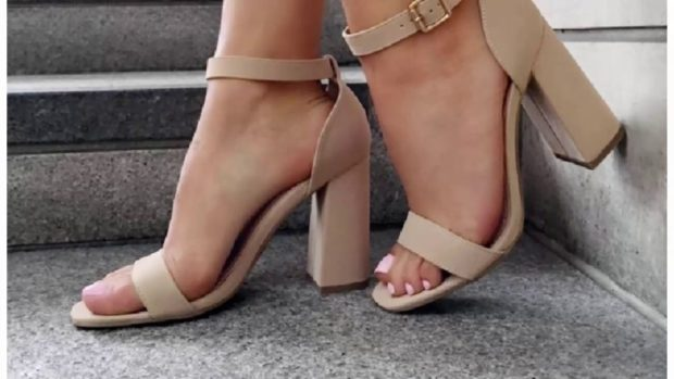 бежевые босоножки на толстом каблуке