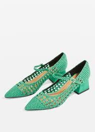зеленые ажурные туфли