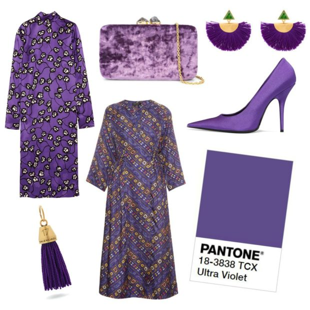 модная одежда в фиолетовом цвете