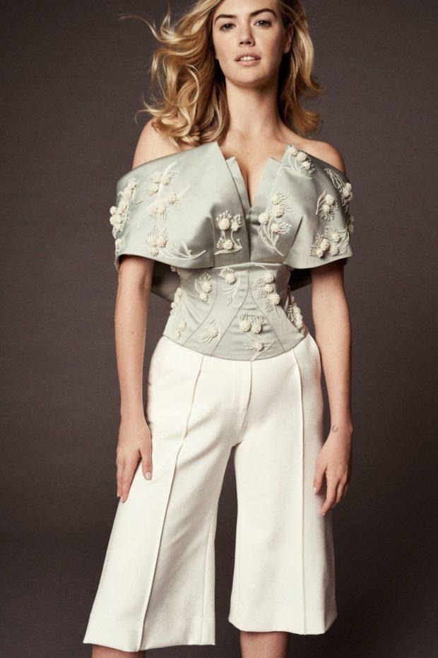 Модные цвета весна лето: белые кюлоты и блуза с объемным верхом