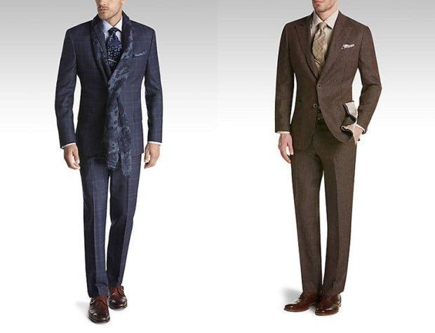 классический костюм синего цвета и коричневого