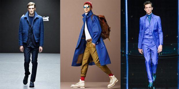 рыжие брюки и синее пальто