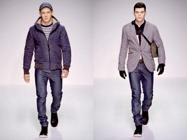 серый пиджак и джинсы