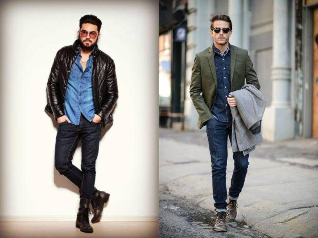 темные джинсы с синей рубашкой и курткой