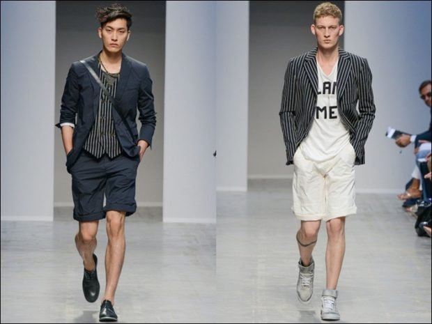 черные и белые шорты до колен