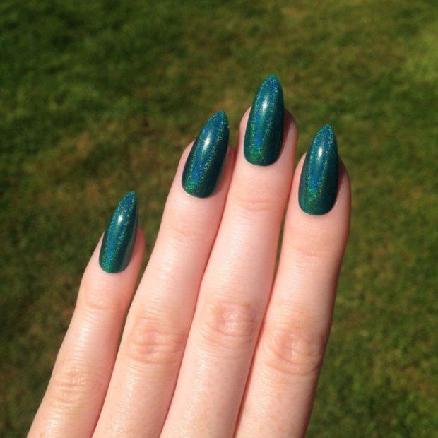 зеленые ногти в блестки