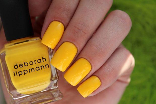 желтый весенний маникюр