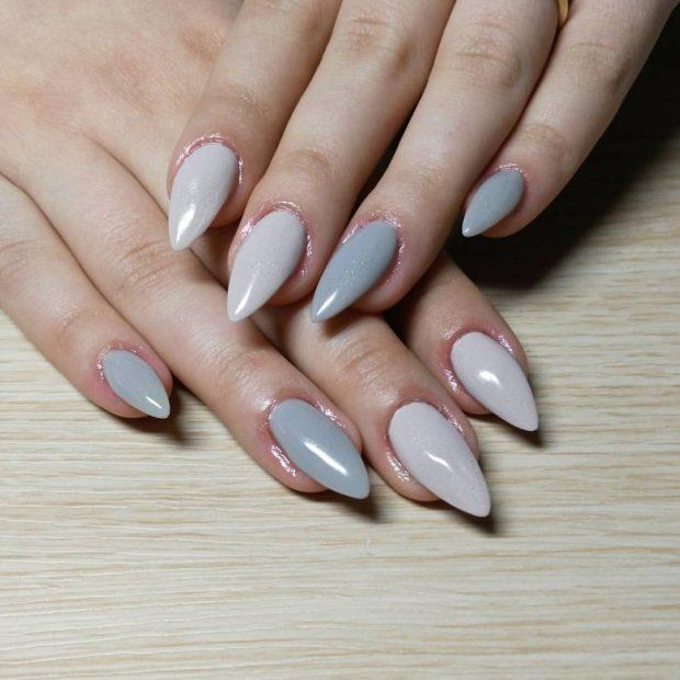 миндальная форма ногтей серый маникюр