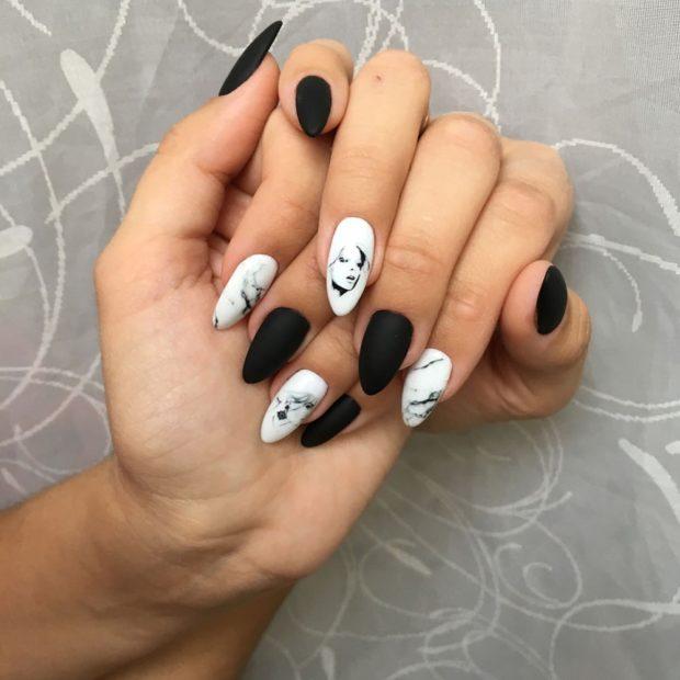миндальная форма ногтей маникюр черный с белым