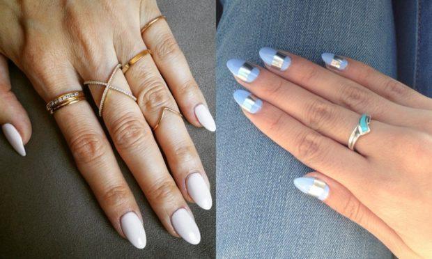 вытянутая форма ногтя серый и голубой маникюр