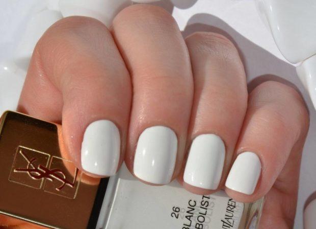 короткие ногти белый маникюр
