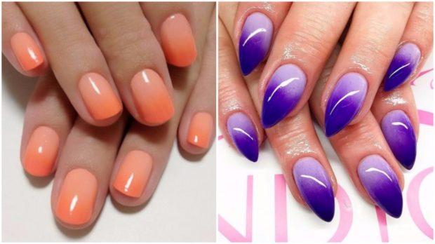 маникюр омбре оранжевый фиолетовый