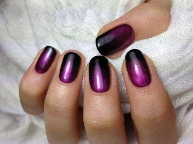 градиентный маникюр фиолетовый с черным