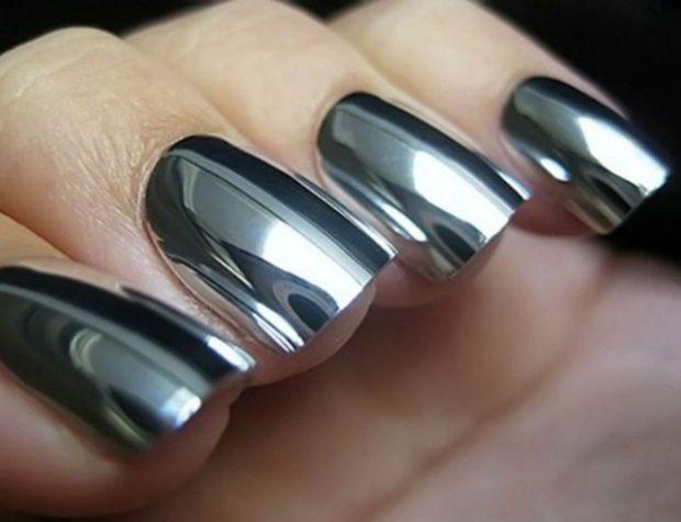 металлический маникюр серебро