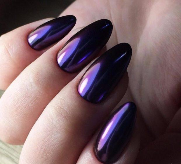 металлический маникюр фиолетовый