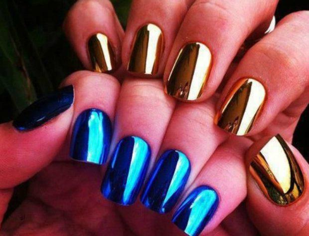металлический маникюр золотой голубой