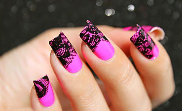 кружевной розовый с черным