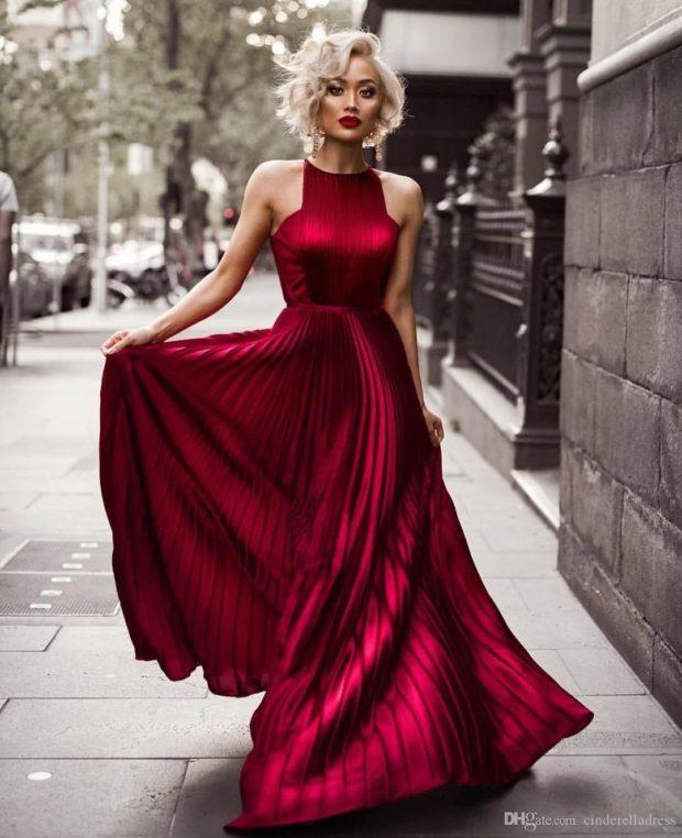 длинное клеш платье цвета марсала