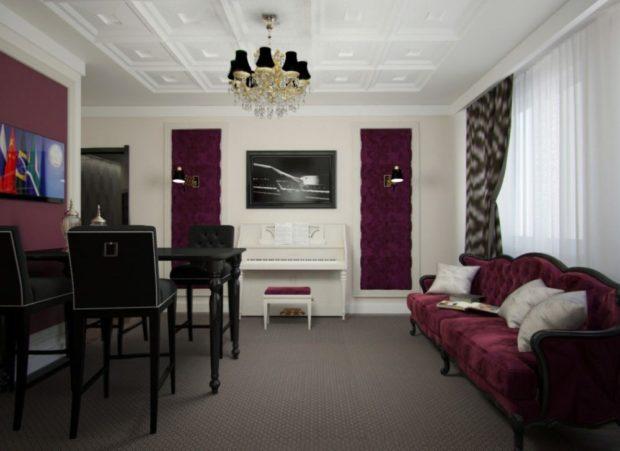 мебель цвета марсала в интерьере