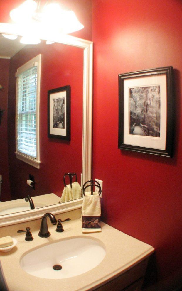 ванная комната в цвете марсала