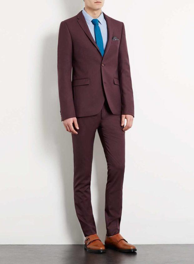 стильный мужской костюм цвета марсала