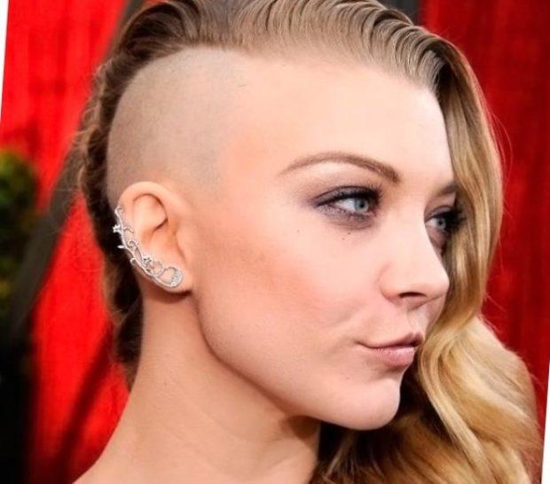 женские стрижки на длинные волосы: выбритый висок мягкие локоны