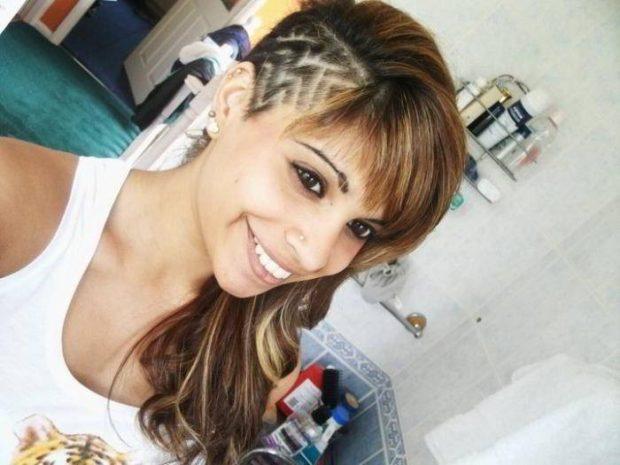 женские стрижки на длинные волосы: выбритый висок узором