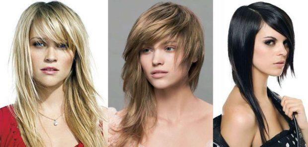 стрижки на длинные волосы: асимметричные с косыми челками