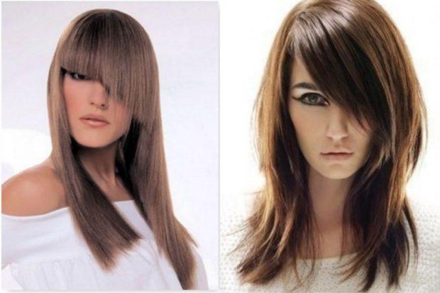 стрижки на длинные волосы: асимметричные с косой неровной челкой простой