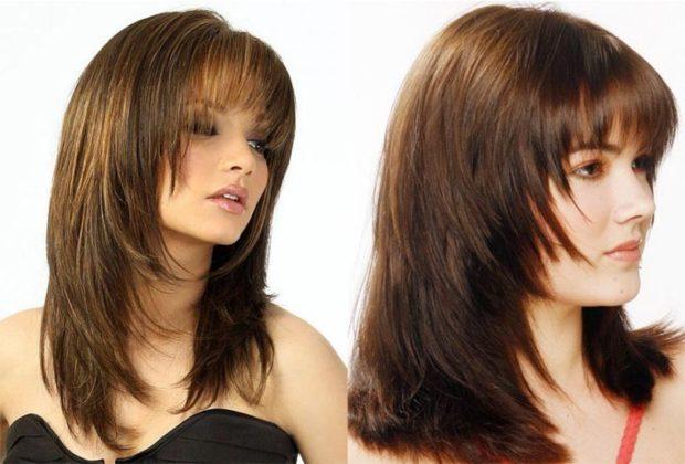 стрижка итальянка на длинные волосы с ровной челкой с рваной челкой