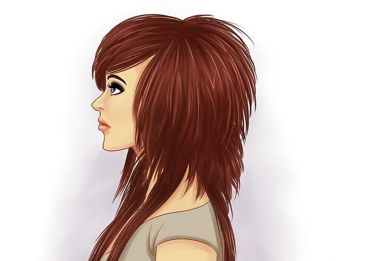 длинная женская стрижка: Треш с косой челкой объемная макушка