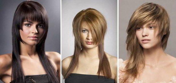 стрижка Шапочка на длинные волосы с ровной челкой с косой челкой