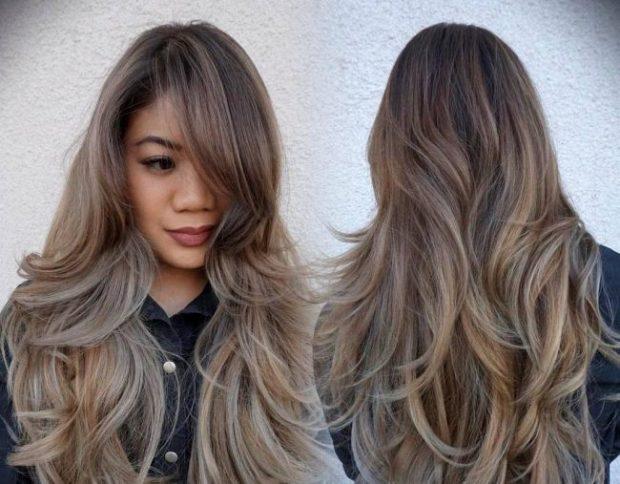 каскад на длинные волосы  с косой челкой