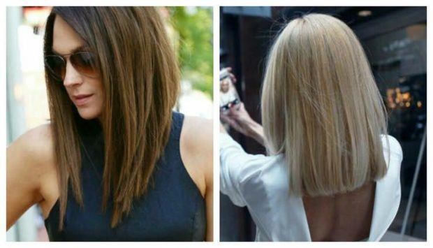 длинная женская стрижка: каре без челки ровные волосы