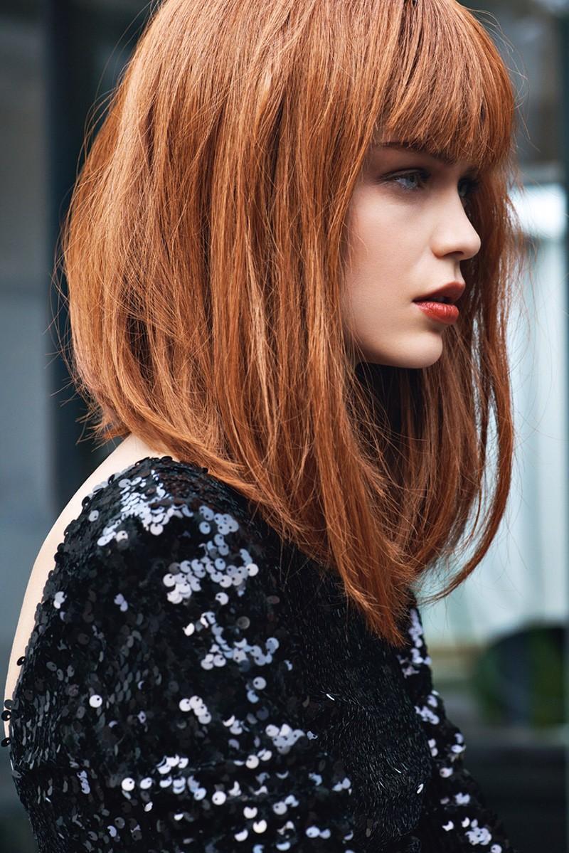 каре на длинные волосы с ровной челкой