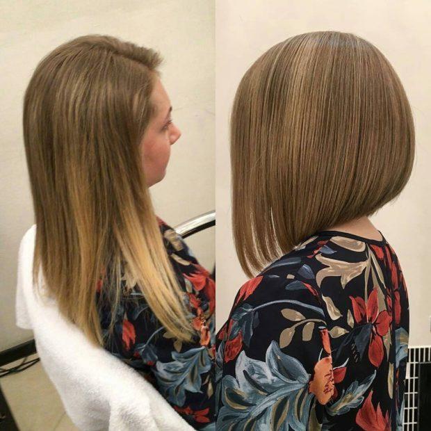 длинная женская стрижка: удлиненный боб без челки