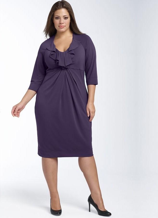 платье для полных фиолетовое