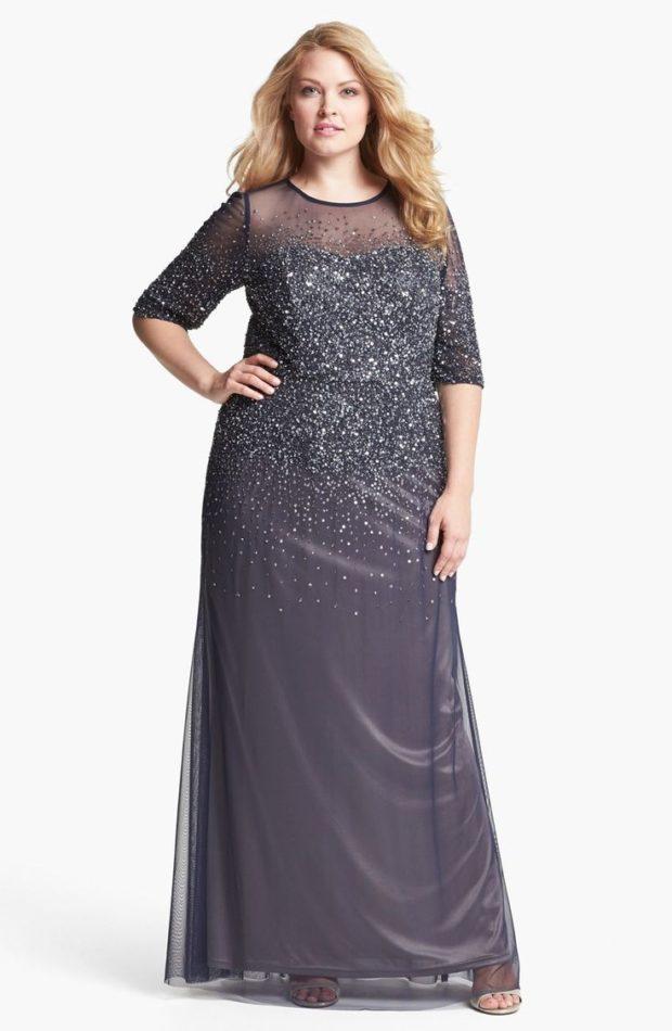 платье для полных девушек: длиной макси