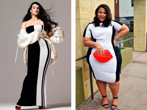 платье для полных девушек: белого цвета в черную полоску