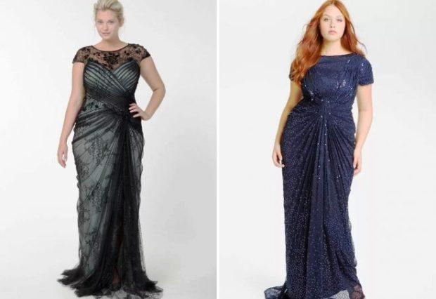 вечерние платье для полных макси синие и черное
