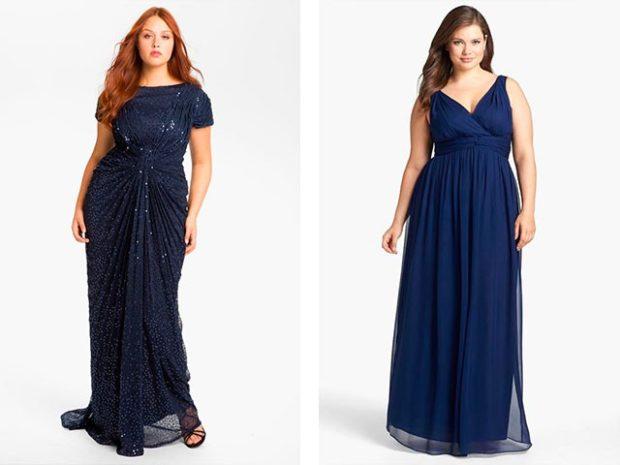 вечерние платье для полных макси синего цвета